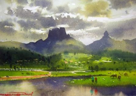 Chanderi Fort | Painting by artist RAKESH SURYAWANSHI | watercolor | Paper
