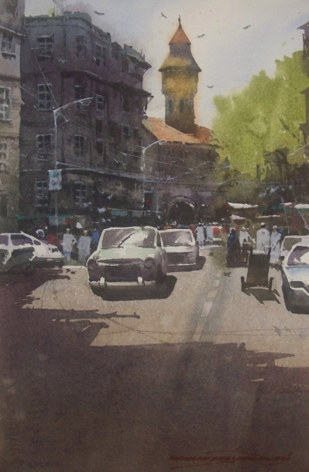 Cityscape Watercolor Art Painting title Crawford Market by artist RAKESH SURYAWANSHI