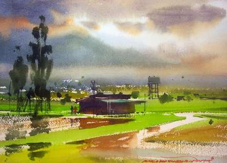Landscape Watercolor Art Painting title 'Neral Farm House' by artist RAKESH SURYAWANSHI