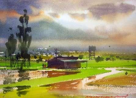Landscape Watercolor Art Painting title Neral Farm House by artist RAKESH SURYAWANSHI