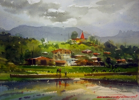Landscape Watercolor Art Painting title 'Kasgoan 3' by artist RAKESH SURYAWANSHI