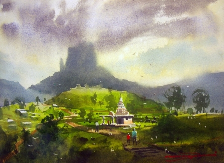 Landscape Watercolor Art Painting title 'Kasgoan' by artist RAKESH SURYAWANSHI