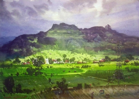 Landscape Watercolor Art Painting title 'Nevali Village' by artist RAKESH SURYAWANSHI