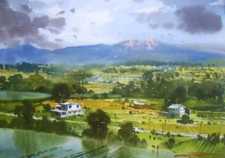 Landscape Watercolor Art Painting title 'Kasgoan 1' by artist RAKESH SURYAWANSHI