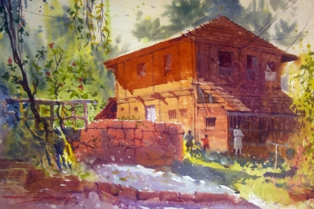 RAKESH SURYAWANSHI | Watercolor Painting title Anjarle on Paper | Artist RAKESH SURYAWANSHI Gallery | ArtZolo.com