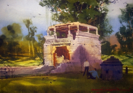 Landscape Watercolor Art Painting title 'Arthuna Village' by artist RAKESH SURYAWANSHI