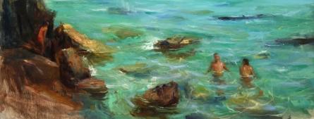 Figurative Oil Art Painting title Italian Sea by artist SURABHI GULWELKAR