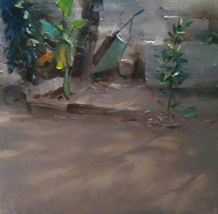 Nature Oil Art Painting title 'Morning Light' by artist SURABHI GULWELKAR