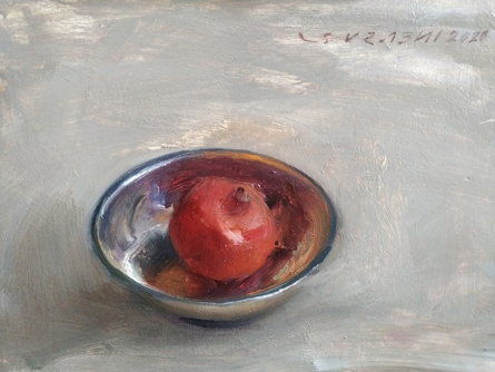 Still-life Oil Art Painting title Pomegranate by artist SURABHI GULWELKAR