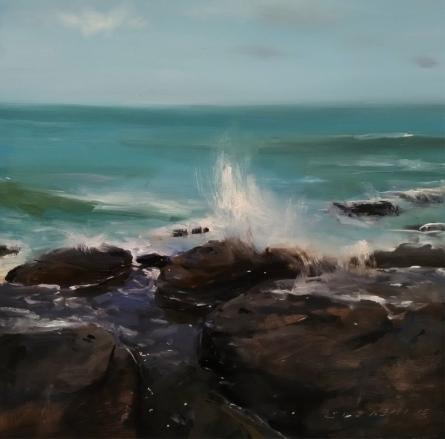 Nature Oil Art Painting title 'Seascape' by artist SURABHI GULWELKAR