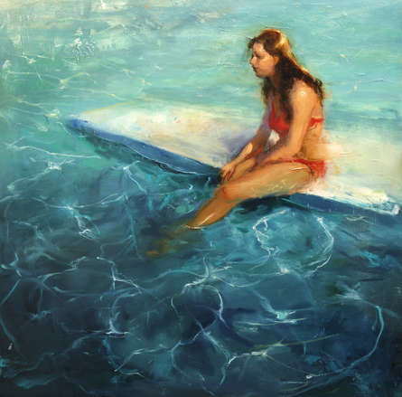 Figurative Oil Art Painting title Sunbath by artist Surabhi Gulwelkar