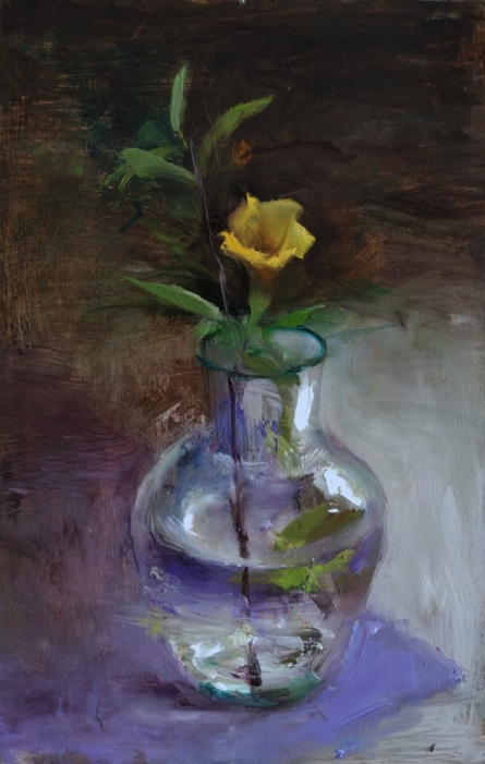 Still-life Oil Art Painting title 'Yellow Beauty' by artist SURABHI GULWELKAR