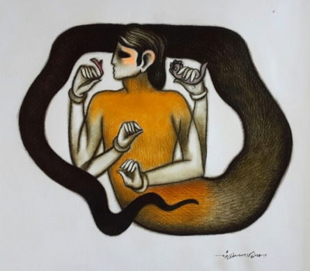 Animals Dry-pastel Art Drawing title 'Mind Contorller' by artist Aditya Pandit