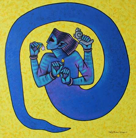 Figurative Acrylic Art Painting title 'Mind Controller' by artist Aditya Pandit