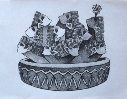 Figurative Pencil Art Drawing title 'Ravan cactus' by artist Aditya Pandit