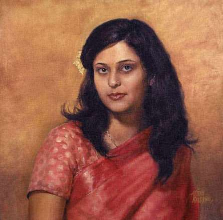 Girl In A Sari Large   Painting by artist Aditya Phadke   oil   Canvas