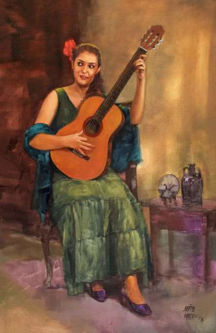 Figurative Oil Art Painting title 'Girl With The Guitar Large' by artist Aditya Phadke