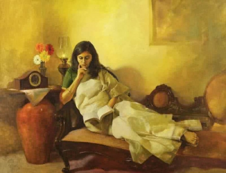 Figurative Oil Art Painting title 'Golden glow' by artist Aditya Phadke