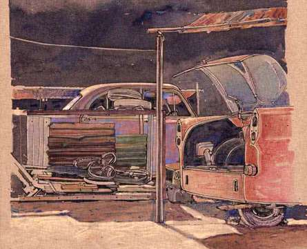 Transportation Mixed-media Art Painting title 'Wheels At Rest 11' by artist Aditya Phadke