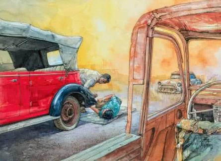 Transportation Mixed-media Art Painting title 'Wheels At Rest 3' by artist Aditya Phadke