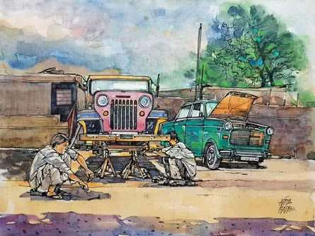 Transportation Mixed-media Art Painting title 'Wheels At Rest 6' by artist Aditya Phadke