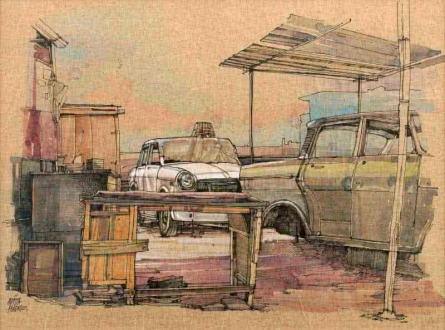 Transportation Mixed-media Art Painting title 'Wheels At Rest 7' by artist Aditya Phadke