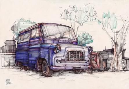 art, painting, mix-media, paper, pen, transportation