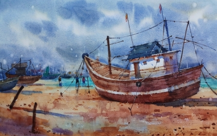 Seascape Watercolor Art Painting title 'Boat 1' by artist Siddharth Gavade