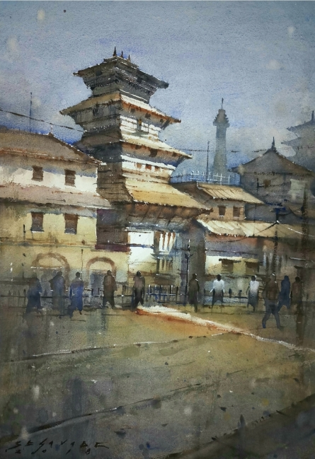 Cityscape Watercolor Art Painting title 'Cityscape 2' by artist Siddharth Gavade