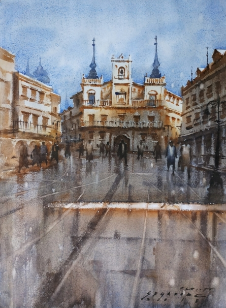 Siddharth Gavade | Watercolor Painting title Cityscape 3 on Paper | Artist Siddharth Gavade Gallery | ArtZolo.com