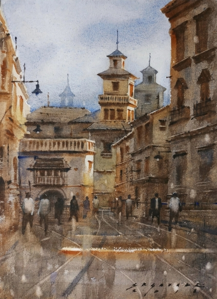 Siddharth Gavade | Watercolor Painting title Cityscape 6 on Paper | Artist Siddharth Gavade Gallery | ArtZolo.com