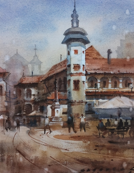 Cityscape Watercolor Art Painting title 'Cityscape 7' by artist Siddharth Gavade