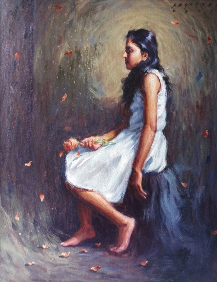 Siddharth Gavade | Oil Painting title Dream Flower 1 on Canvas | Artist Siddharth Gavade Gallery | ArtZolo.com