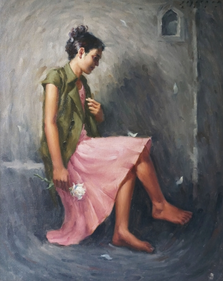 Figurative Oil Art Painting title Dream Flower 2 by artist Siddharth Gavade