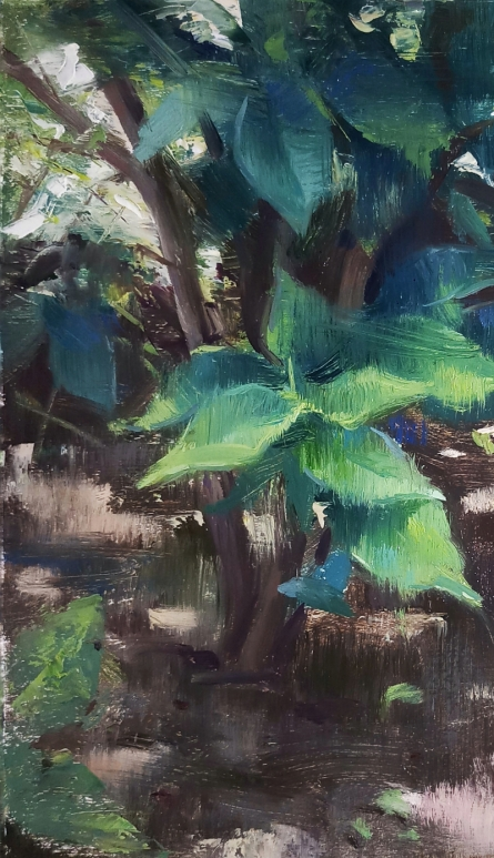 Nature Oil Art Painting title 'Greenleaps' by artist Siddharth Gavade