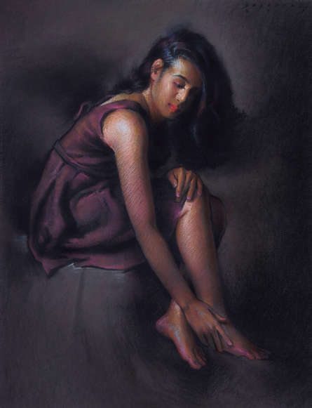 Portrait Pastel Art Drawing title 'Shraddha' by artist Siddharth Gavade