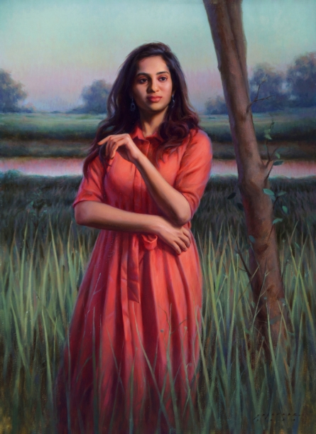 Figurative Oil Art Painting title The Evening Red by artist Siddharth Gavade