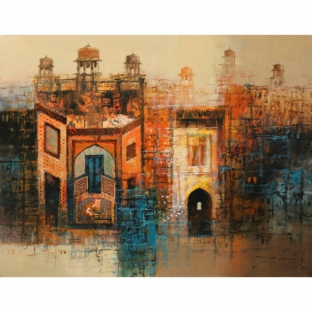 Cityscape Oil Art Painting title Cityscape Painting by artist A. Q. Arif