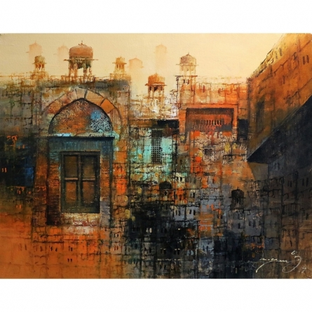 Cityscape Oil Art Painting title 'Cityscape Painting 1' by artist A. Q. Arif