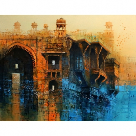 Cityscape Painting 2 | Painting by artist A. Q. Arif | oil | Canvas