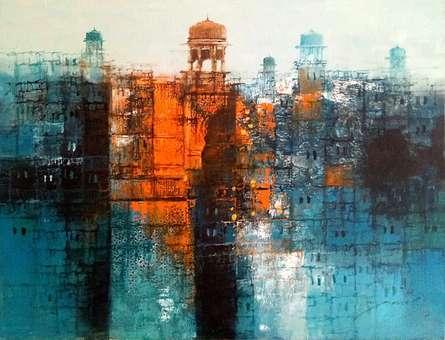 Cityscape Oil Art Painting title 'Cityscape Painting 3' by artist A. Q. Arif