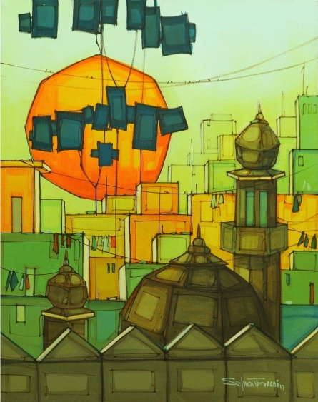 Cityscape Acrylic Art Painting title 'Cityscape 2' by artist Salman Farooqi