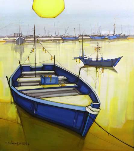 Cityscape Acrylic Art Painting title 'Cityscape 3' by artist Salman Farooqi
