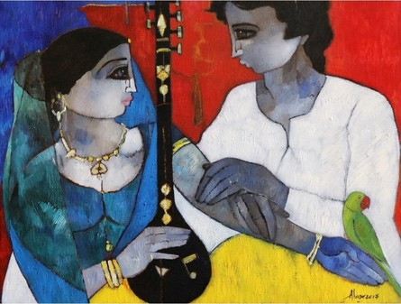 Figurative Oil Art Painting title 'Couple With Veena' by artist Abrar Ahmed