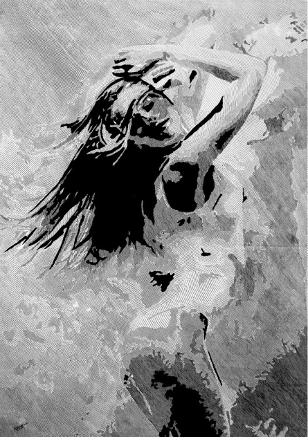 Pen-ink Paintings | Drawing title Dance on Canvas | Artist Ashair Naeem