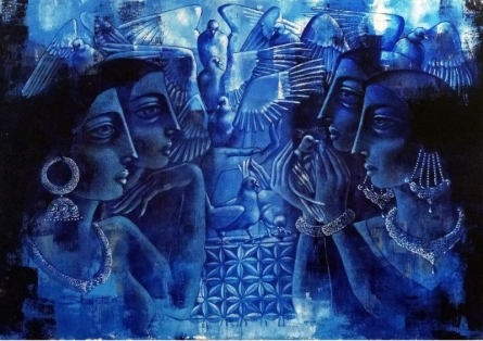 Figurative Acrylic Art Painting title 'Gossiping' by artist Shaista Momin