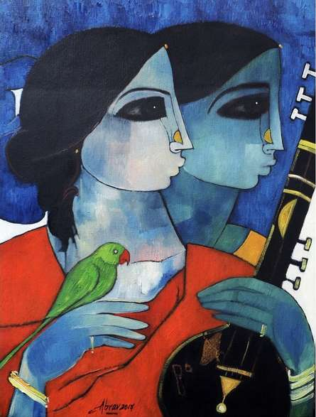 Figurative Oil Art Painting title 'Lady With Parrot' by artist Abrar Ahmed