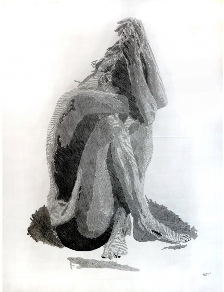 Figurative Pen-ink Art Drawing title 'Seating' by artist Ashair Naeem