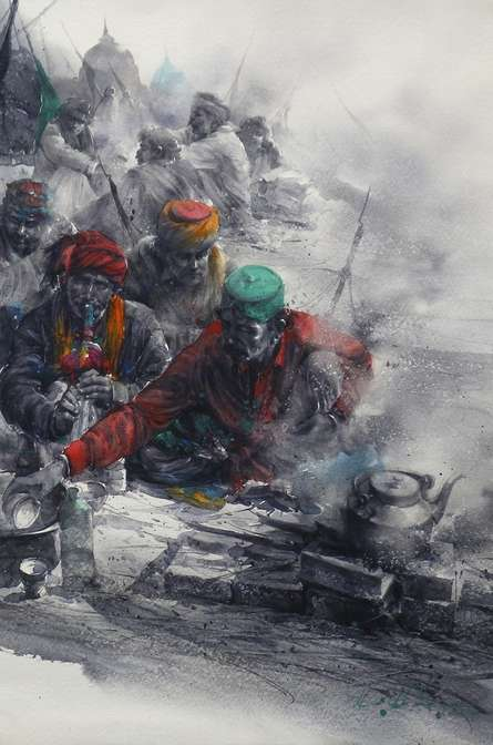 Tea Maker | Painting by artist Ali Abbas | watercolor | Paper