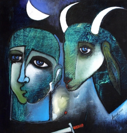 Together | Painting by artist Abrar Ahmed | oil | Canvas